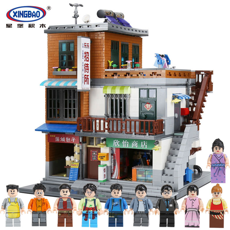 XingBao 01013 Genuine Creative MOC City Series The Urban Village Set Building Blocks Bricks Educational legoing Toys Model Gift lepin 36010 genuine creative series the winter village market set legoing 10235 building blocks bricks educational toys as gift