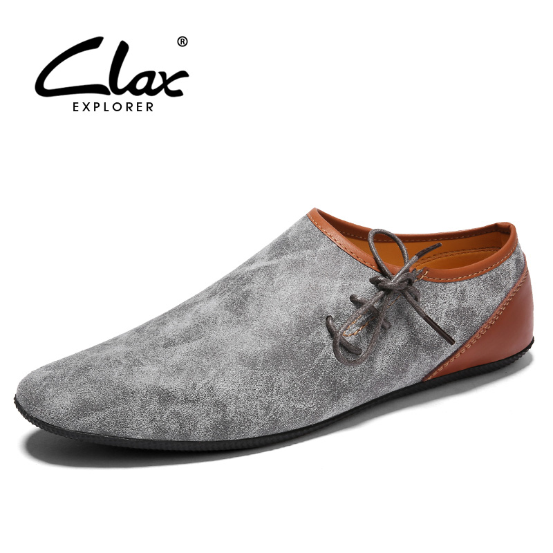 CLAX Men Flat Casual Shoes 2018 Spring Summer Fashion Suede Leather Male Lightweight Leisure Footwear Walking Shoe Breathable high quality men casual shoes fashion lace up air mesh shoe men s 2017 autumn design breathable lightweight walking shoes e62