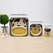 Bamboo baby feeding set with bowl plate forks spoon cup 5pcs/set