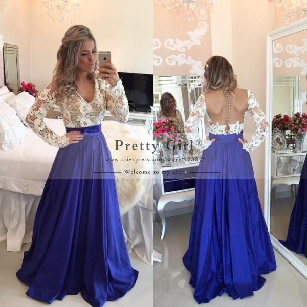 Lace prom dress white and blue