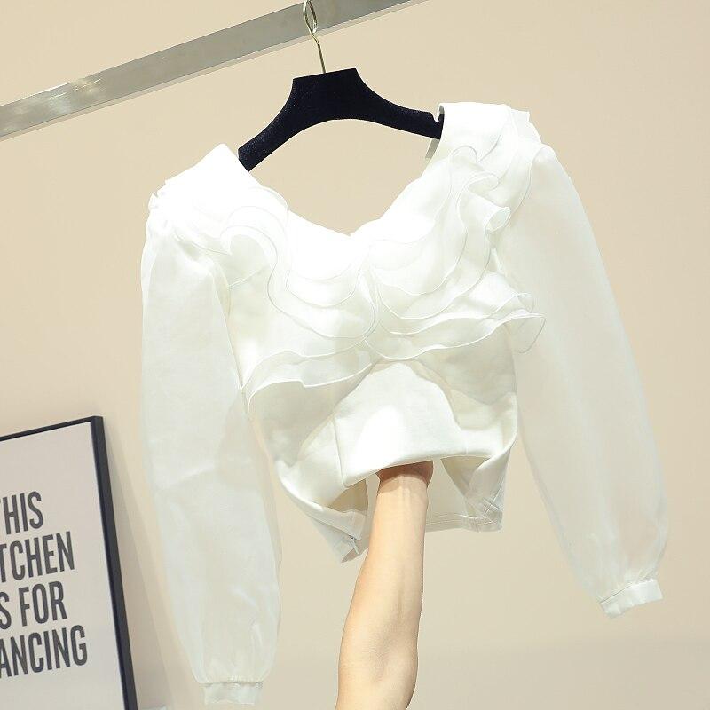 Self-Conscious 2019 Spring Sweet Short Blouse Women Lotus Leaf Edge V-neck Long Lantern Sleeve Shirt Girls Holiday Crop Top White Women's Clothing
