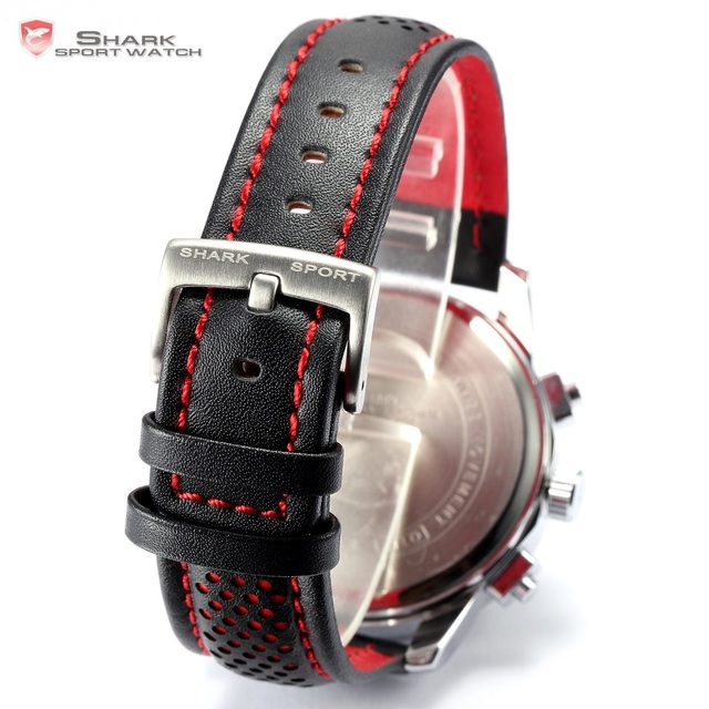 Pacific Angel SHARK Sport Watch Luxury Calendar Quartz Men Male Watches Fashion Red Black Leather Band Relogio Masculino /SH094