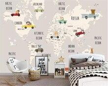beibehang Custom children room background wall 3d wallpaper cartoon world map animal murals for walls 3 d