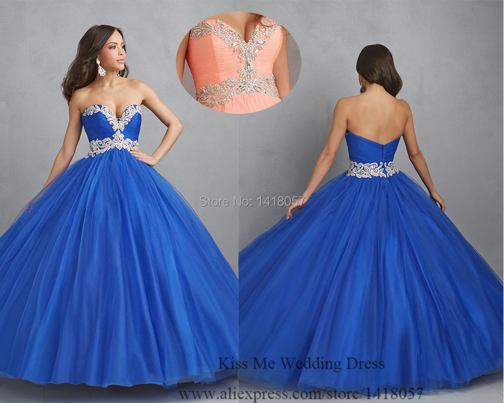 Royal Blue Masquerade Gowns Ball Gown Sweetheart 2015