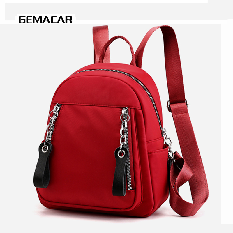 Casual Lady Small Backpack Solid Color Fabric Light Bag Female Fashion Shopping Bagpack With Chain Headphone Hole Girl BagCasual Lady Small Backpack Solid Color Fabric Light Bag Female Fashion Shopping Bagpack With Chain Headphone Hole Girl Bag