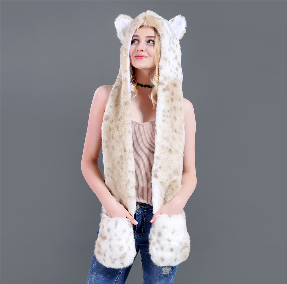 New Cartoon Animal Hat Scarf Gloves In One Snow Leopard Winter Accessories For Women Hat And Scarf Sets