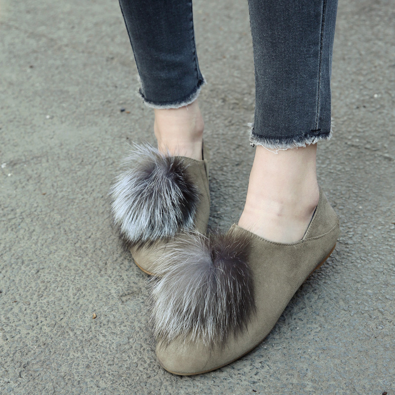 on green 40 De Véritable Marque Chaussures Brown Cuir Suédé Lapin Ballerines Décoration Femmes Fourrure Designer Espadrilles Slip Loisirs dXTZwHZq