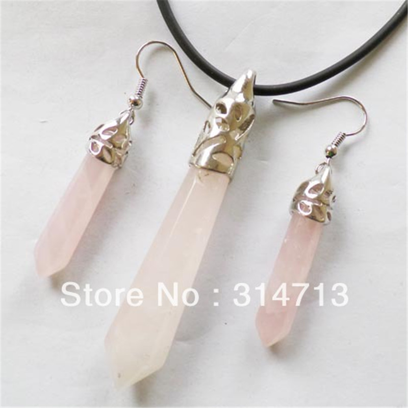 (Min.order 10$ mix) Free shipping (3 pieces/lot) Rose Stone Faceted Pendulum Necklace & Earrings Set