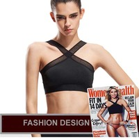 Women Sexy Bras Quick Dry Criss Cross Mesh Patchwork Gym Tank Tops Fitness Running Training Breathable