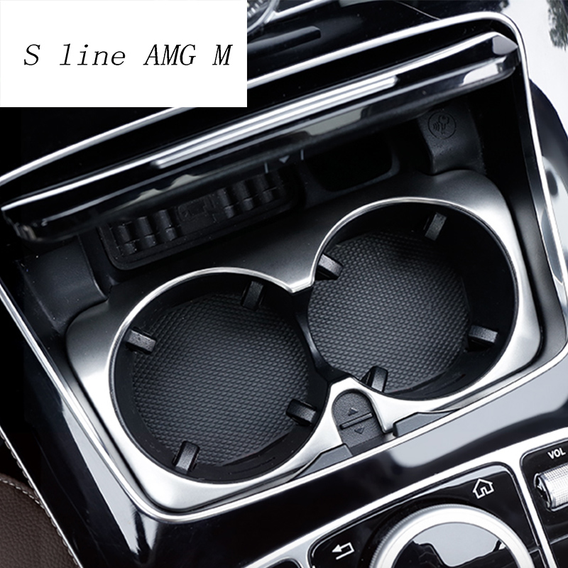Car Styling Car Water Cup Holder Frame Trim Sticker For <font><b>Mercedes</b></font> Benz C Class W205 C180 C200 <font><b>C300</b></font> GLC Interior Auto Accessories image