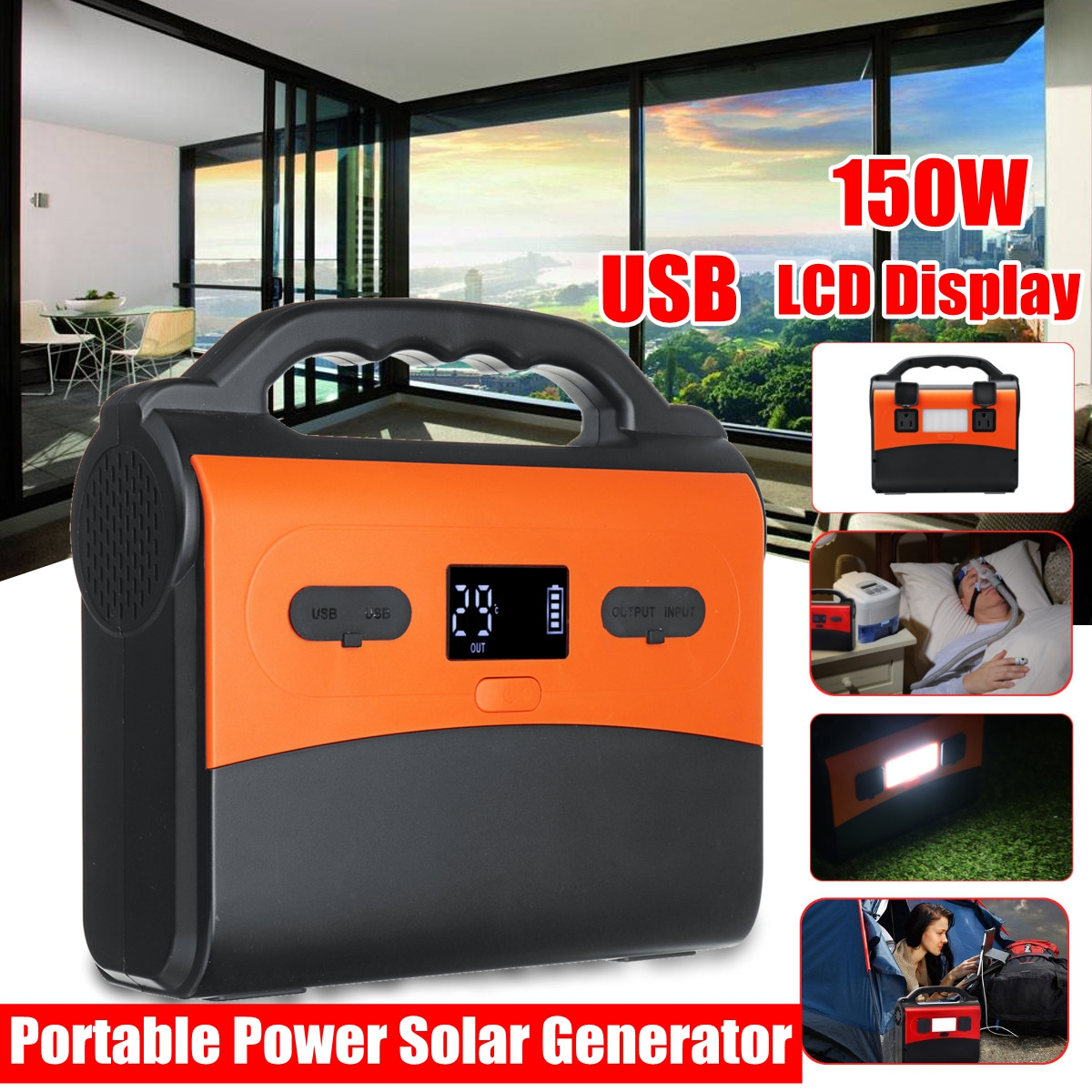 цена на 150Wh 150W Portable Solar Generator Power Supply Energy Storage Home Outdoor Power Generation USB LCD Display