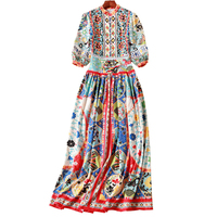 Hollow Dress Lace Women Fashion Novelty Print Long Spring Summer Dress