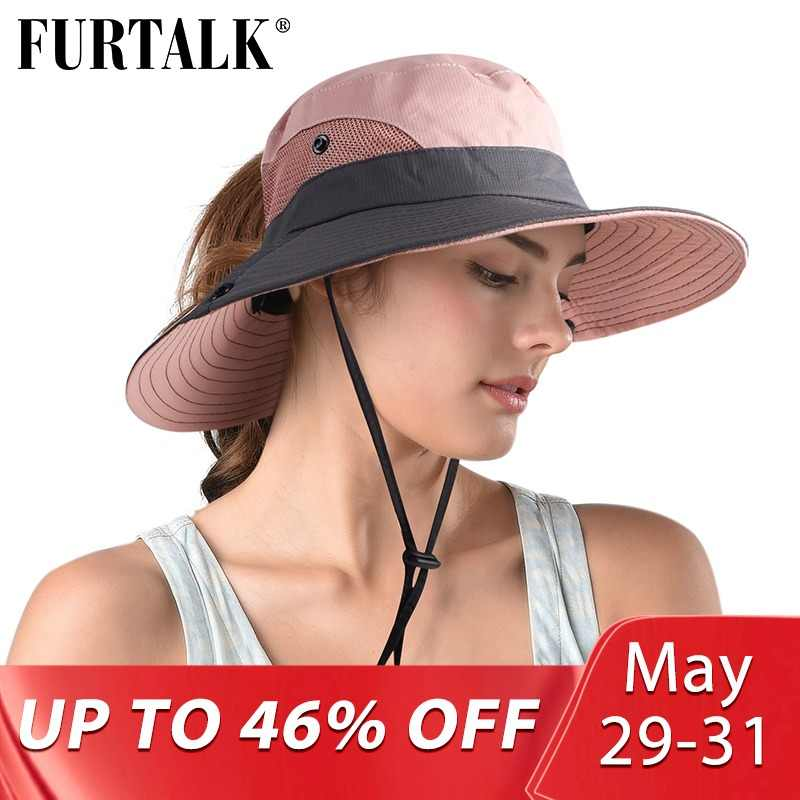 c0cd2b7ff40061 FURTALK Safari Sun Hats for Women Summer Hat Wide Brim UV UPF Protection  Ponytail Outdoor Fishing