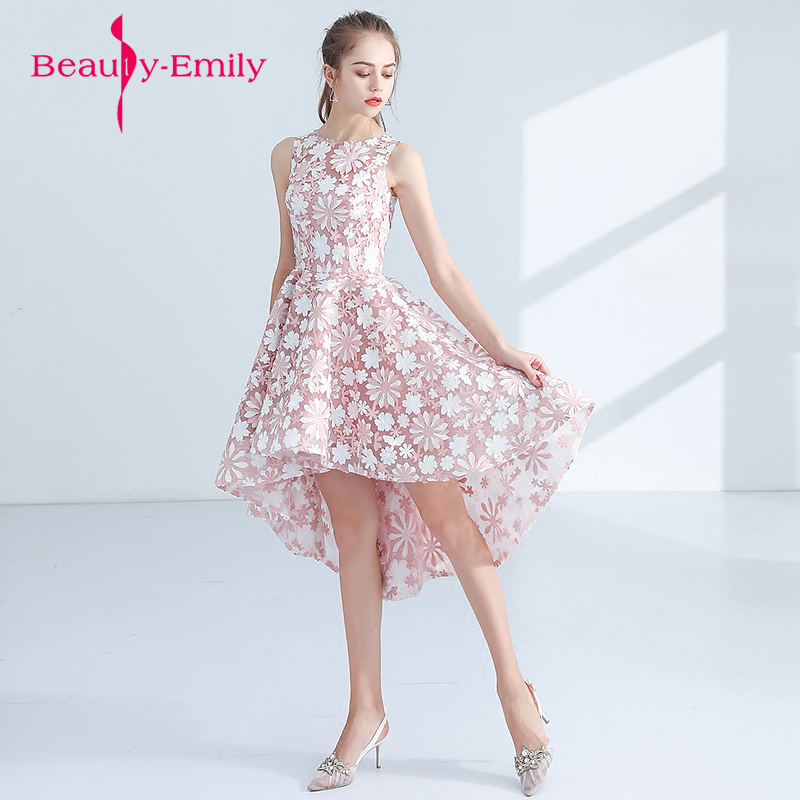 Beautiful Organza Prints Short Prom Dresses New Pink Prom Gowns Sleeveless Appliques Built-In Bra Lovely  Dress For Graduations