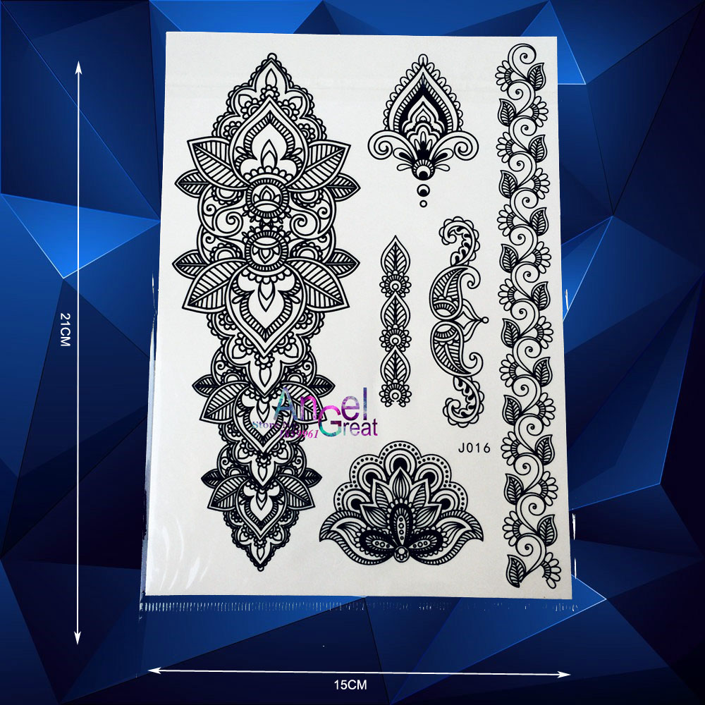 Henna Style Tattoos Lace Tattoo: Aliexpress.com : Buy Big Size Indian Henna Temporary