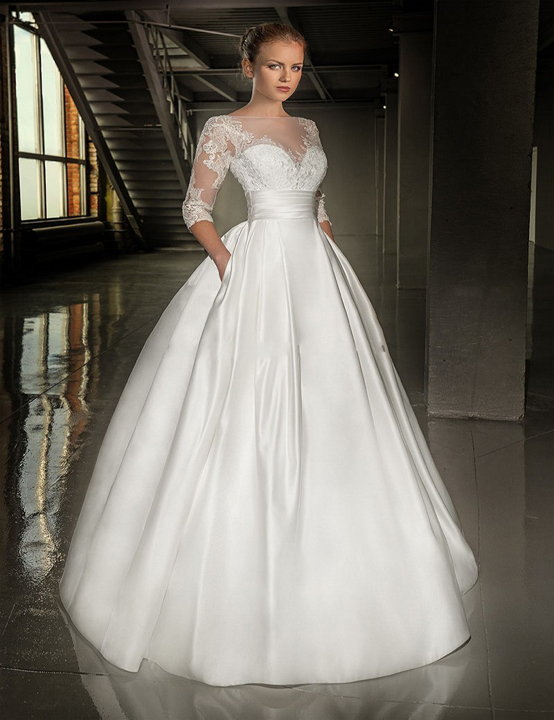 Cheap Wedding Dresses 75 lace wedding dresses cheap Deep V Neck Long Sleeves Lace Tulle A Line Wedding Dress attractive Wedding