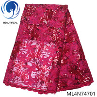 Beautifical nigerian lace fabrics HIgh quality african lace embroidery sequins fabric lace beads fabric with stones ML4N747