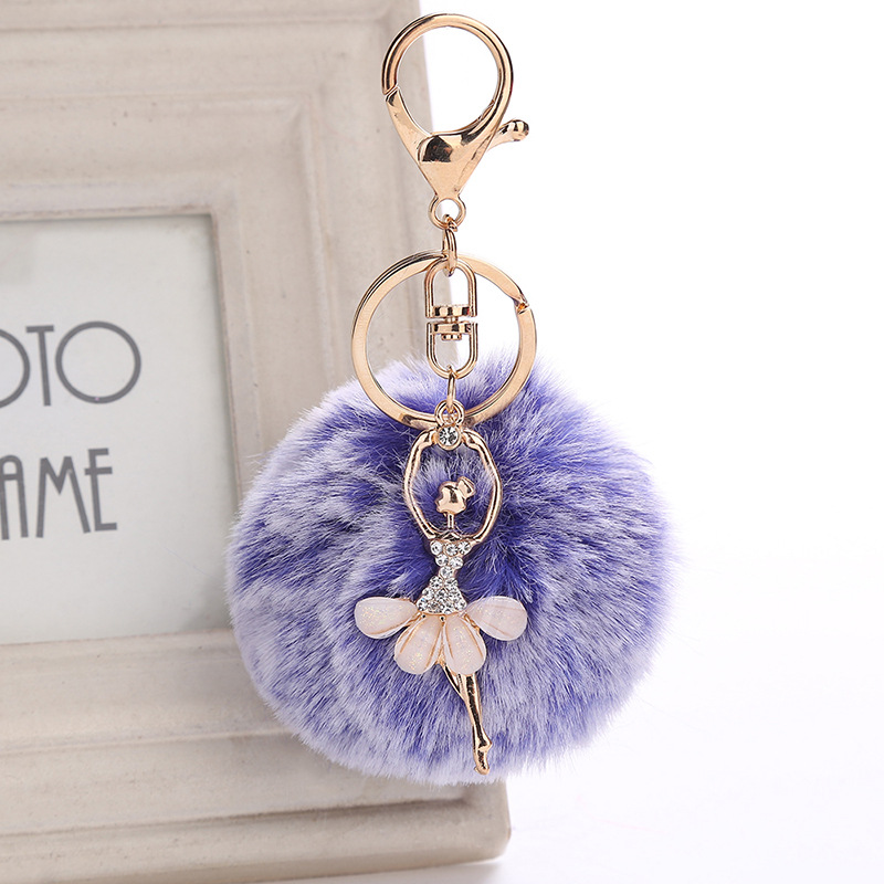 H:HYDE new 15 color Rabbit Hairball Keychain pompons Crystal Ballet Dancer Charm Keychain for cars keyrings pom pom keychain seahorse pom pom keychain