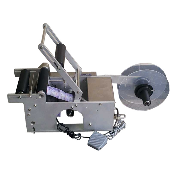 Semi-automatic round bottle labeling machine, small e liquid oil bottle labeler