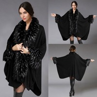 women's autumn and winter fashion shawls and hijabs faux fur collar woolen cape coat female AS 32