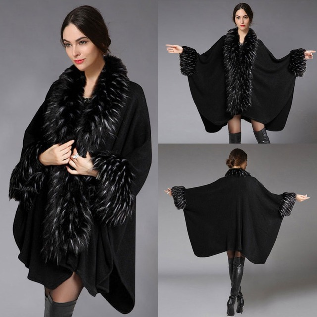 women's autumn and winter fashion shawls and hijabs faux fur collar woolen cape coat female AS-32