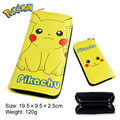 2017 Anime Pokemon Pikachu Eevee Sylveon With Zipper Cartoon Logo PU Leather Long Wallet Money Bag Burse Notecase Purse