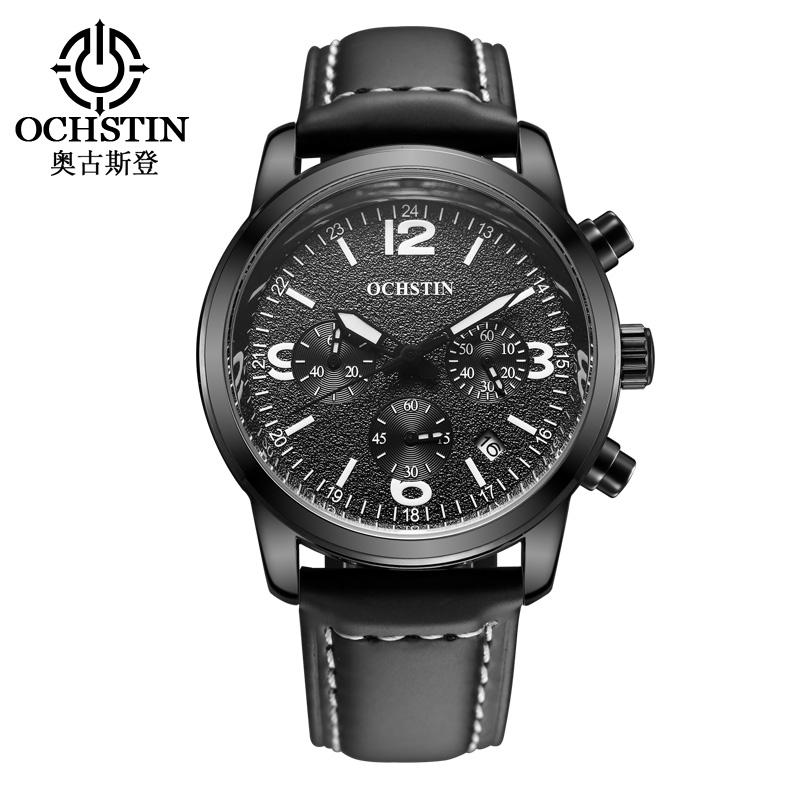 Prix pour 2016 Ochstin Chronographe Montre Sport Hommes Marque De Luxe Quartz Militaire Sport En Cuir Véritable Hommes de Montre-Bracelet Relogio Masculino