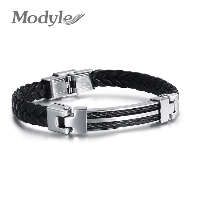 Black Leather Bracelet with Stainless Steel Clasp - 202mm qS1iOWi