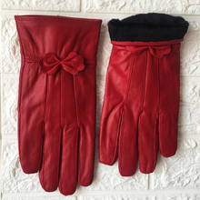 Women Winter Leather gloves 2019 Womens Genuine Red sheepskin Autumn and Fashion female Windproof