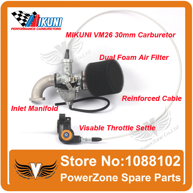 ФОТО MIKUNI Carburetor VM26 PZ30 +Mainfold Intake Pipe +Air Filter + Visiable Throttle Settle +Cable Fit IRBIS Motorcycle Dirt Bike