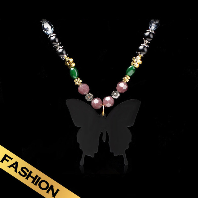 Special Long Necklaces  Austrian crystal Butterfly Pendant Vintage Western Style Distinctive Fashion Pendant Jewelry XL13A101406