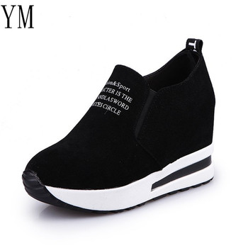 2018 Flock New High Heel Lady Casual black/Red Women Sneakers Leisure Platform Shoes Breathable Height Increasing Shoes 4