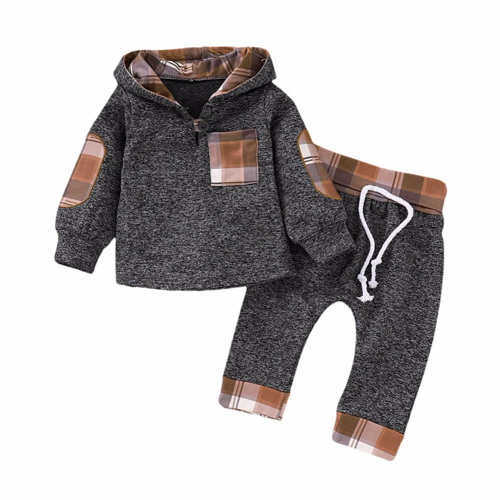 1-3T 2pcs Baby Clothes Set Spring Autumn Cotton Hooded Tops Plaid Long Sleeve Children Baby Sweatshirt Pant Set Boy Girl Suits