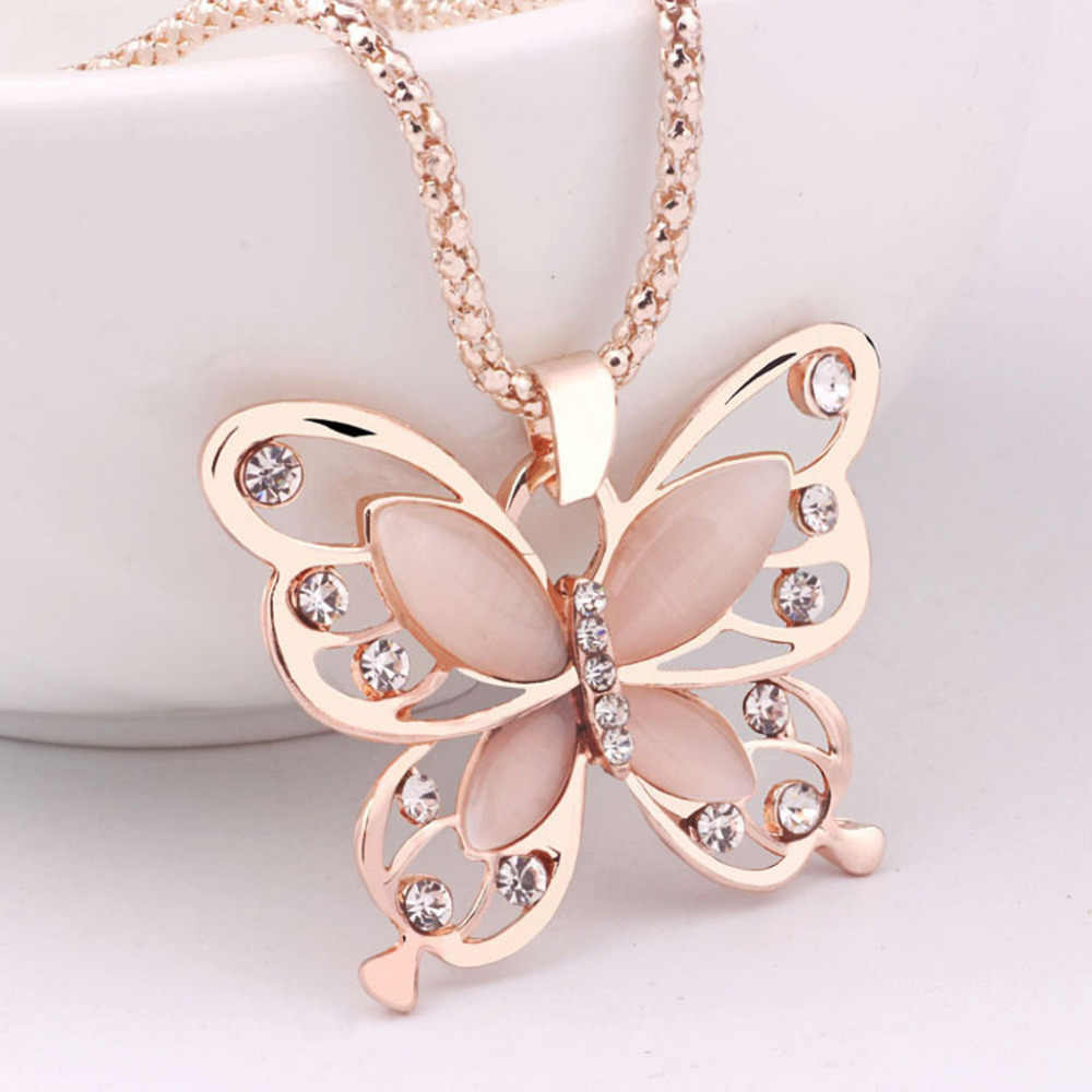 Fashion Jewelries Women Necklaces Rose Gold Opal Butterfly Charm Pendant Long Chain Necklace Shiny Jewelry Rhinestone Choker