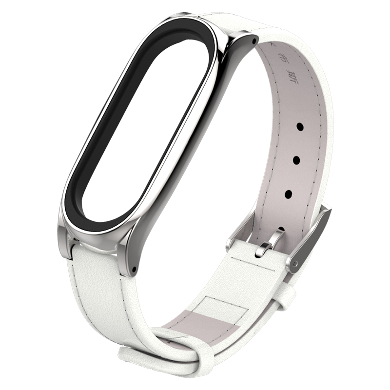 Image 3 - For Xiaomi Mi Band 3 Genuine Leather Strap Metal Frame For MiBand 3 Smart Bracelet XiaoMi Mi Band 3 Replace Strap Accessories-in Smart Accessories from Consumer Electronics