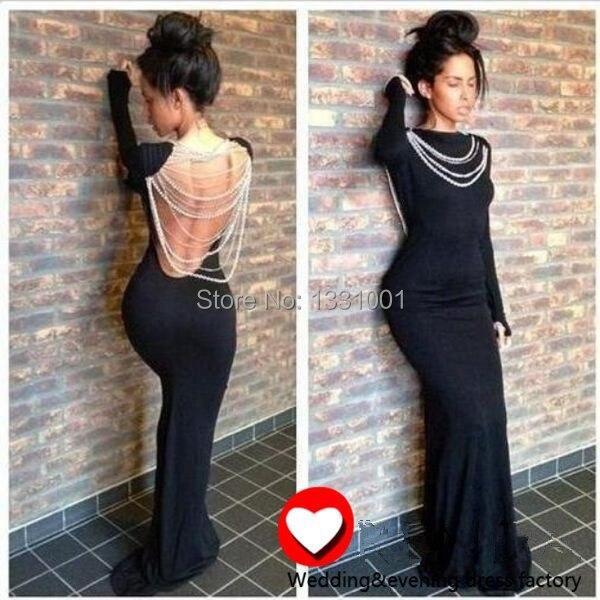 Vestido Sereia Longo Black Long Sleeve Evening Gown 2016 New Arrival