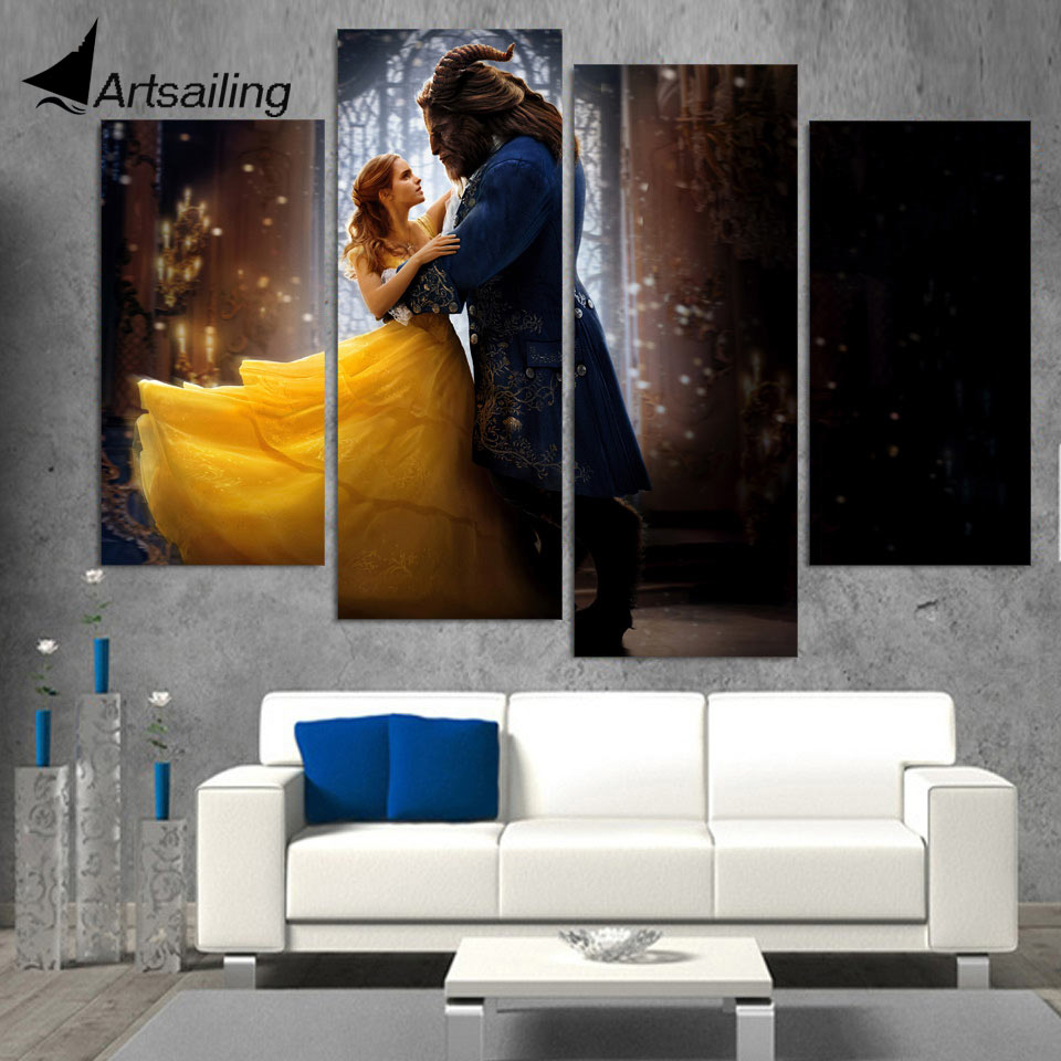 Us 9 99 40 off4 piece canvas art hd printed movie poster beauty and the beast canvas painting prints wall picture for living room up 1493c in