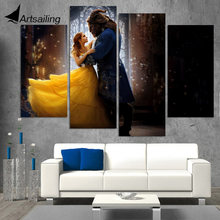 4 piece canvas art HD printed movie poster beauty and the beast painting prints wall picture for living room up-1493C
