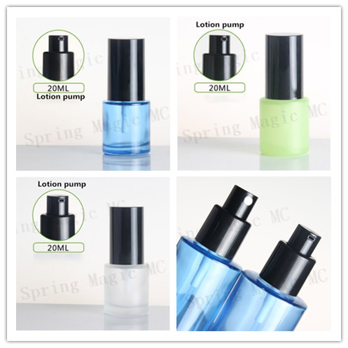 20ML Blue Green Frosted Glass Lotion Bottle with Black Pump Sprayer Skin Care Container Perfume Lotion