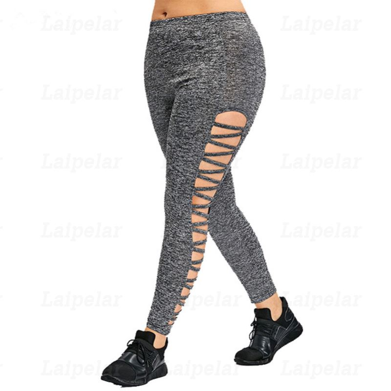 Laipelar Women Tracksuits Activewear Leggings Gray Hollow Out Sweat Legging High Waist Fitness Plus Size Sweatpant