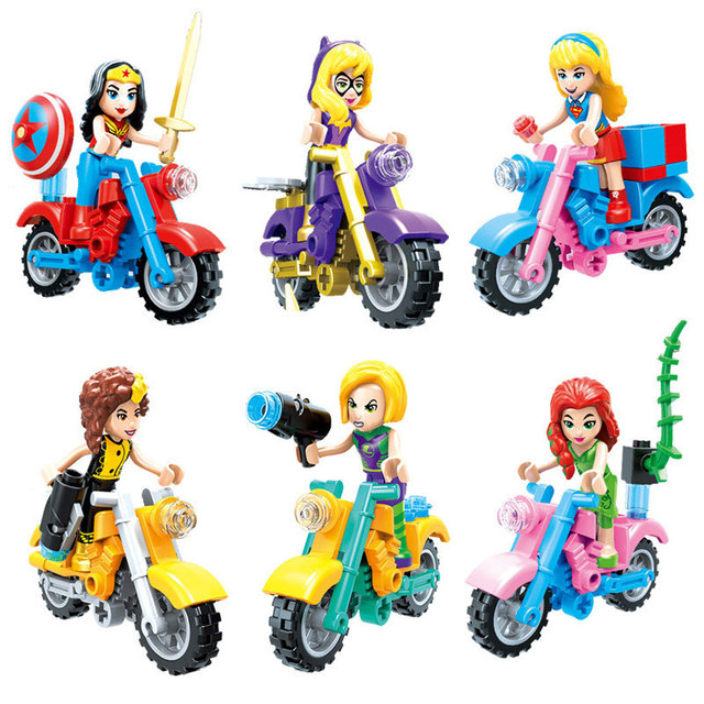 6pcs/set Super Hero Girls  Compatible Legoinglys Wonder Woman Supergirl Batgirl Poison Ivy Toy Figure Motorcycle Building Block