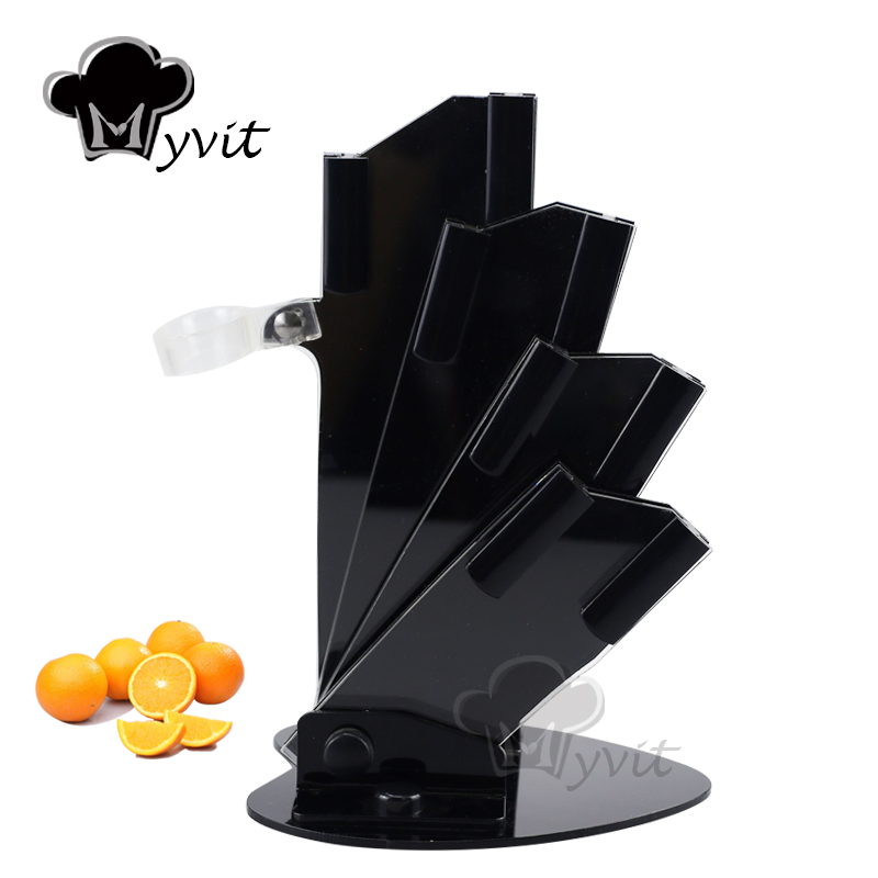 High Quality Beautiful Acrylic Kitchen Ceramic Knife Holder Knife Stand Block For 3'' 4'' 5'' 6'' Knives With One Peeler