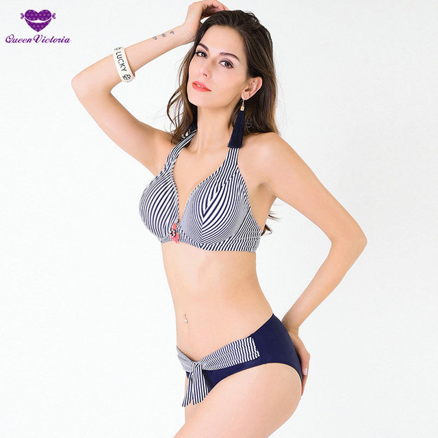 be36841ed4 2016 Stiped girl halter Sexy swimsuit push up padded Swimwear V-neck summer  beach bathing suit maillot de bain plus size L-4XL