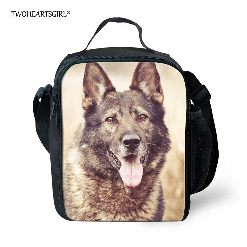 Twoheartsgirl German Shepherd Dog Print Lunch Bag for Teenager Boys Girls Thermal Insulated Children Kids Lunch Box Food Bag image