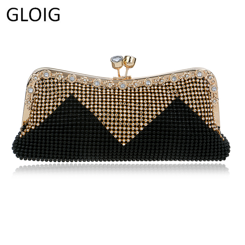 GLOIG Wedding Bridal Beaded Women Evening Bag Chain Shoulder Handbags Mixed Color Soft Rhinestones Clutch Evening Bag