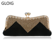 Women Clutch Bags Beaded Evening Bags Pearl Diamonds Golden Handbags Wedding Bridesmaids Bridal Party Feast Bag With Chains  full beaded women vintage evening bags imitation pearl shell shaped women bag shoulder bags diamonds clutch bag for wedding