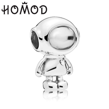 HOMOD 2019 Newest Silver Color Cute Astronaut Beads  Fits PandoraCharm Fit DIY Charm Brand Bracelet For Women Jewelry Making