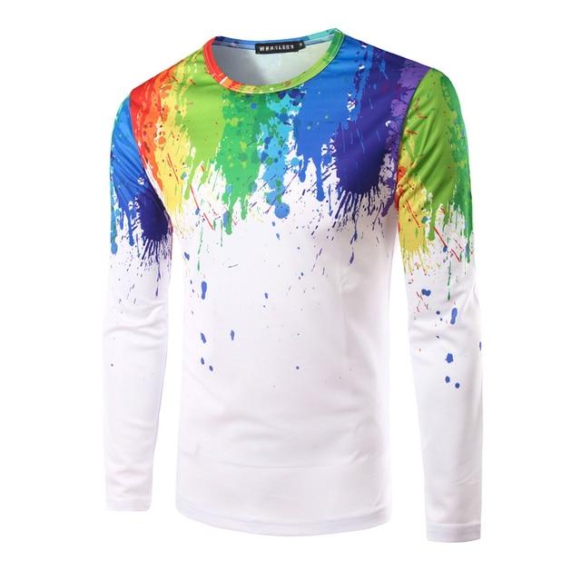 5dbdc2fb97da62 Fashion Splashed Paint Rainbow tshirt Color Design Printing Hot Selling  Men's Leisure Long-sleeved Round Neck T-shirt ALV198