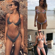2017 New high cut thong bathing suit high waist swimsuit Solid swimwear women Brazilian Biquini