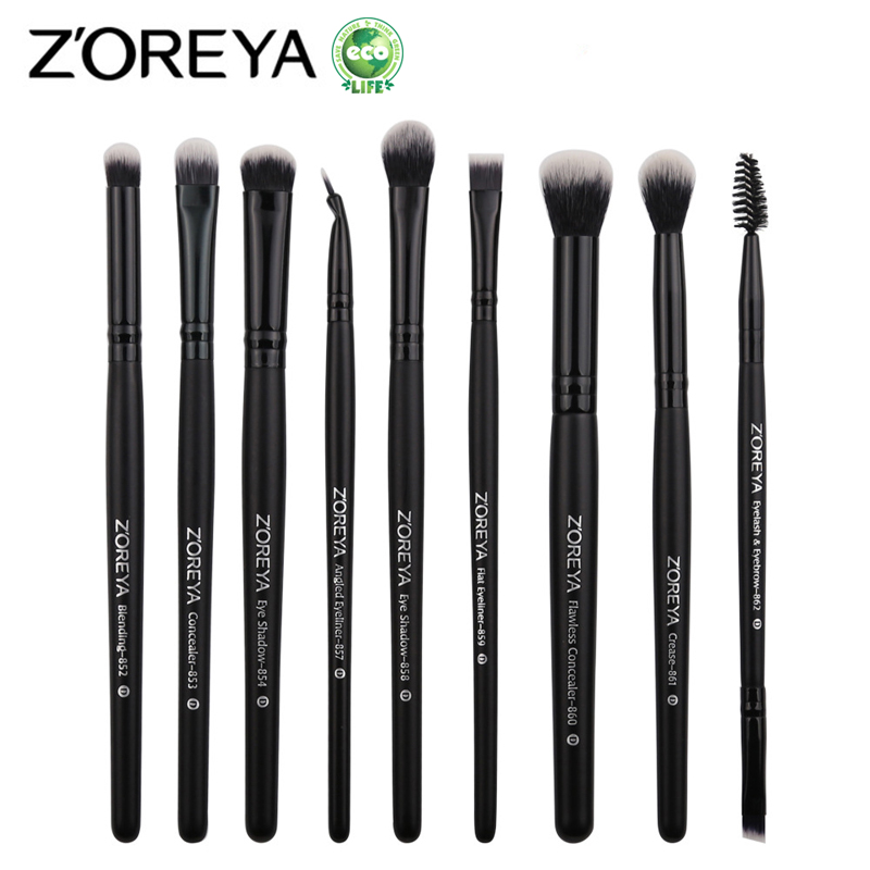 ZOREYA 9pcs Professional Makeup Brushes Sets Powder Blending Blusher Make Up Brush Eyeshadow Maquiagem Makeup Cosmetic Tool Kits стоимость